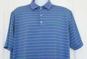 Peter Millar Summer Comfort Men's Golf Polo Shirt Blue Striped Size Large