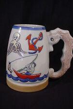 Clube De Pesca De Santos Fishing Yachting Mug Stein 1970 Figural Seahorse Handle
