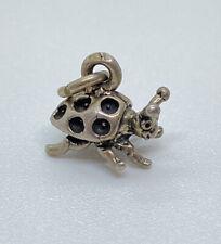 Vnt Solid Sterling Silver 3D Happy Smiling Ladybug Charm For Charm Bracelet