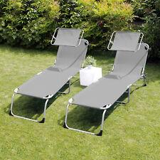 2 Stück Sonnenliege Gartenliege Campingliege mit Dach Stahl/Textilen Grau