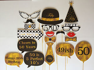 19 Piece Photo Booth Prop Set - 50th Birthday Party - Aust Made