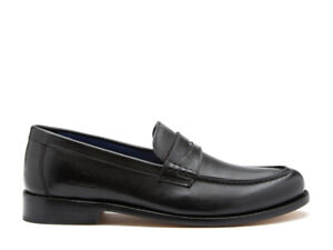 Chatham MCQUEEN - Mens Goodyear Welted Leather Penny Loafers Black RRP 120