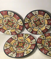 4 PIER 1 SALAD PLATES ''VALLARTA'' HAND PAINTED EARTHENWARE  9 1/8''