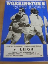 26/11/1978 Rugby League Programme: Workington Town v Leigh (team changes)