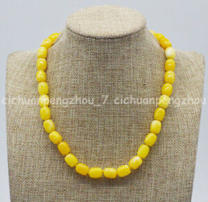 Handmade Pretty 9x11mm Yellow Topaz Cylinder Beads Gemstone Necklace 16-36''