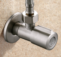 "Stainless Steel Brush Angle Valve 1/2"" Kitchen Bathroom Toilet Water Stop Valve"