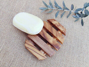 Olive Wood Oval Soap Holder 4.1 X 3.1 Inch / Bathroom Wooden Soap Dish