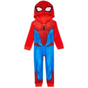 Marvel Spiderman Spider Man Hoodie Union Suit One Piece Pajamas 6 8 10 Boy Girl