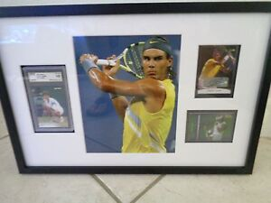 """Rafael Nadal 21"""" x 14"""" Framed Autograph / Rookie / Shirt Cards & Pic Framed 1/1"""