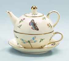 burton+Burton Porcelain Tea for One Set Stacked Teapot & Cup MORNING MEADOWS