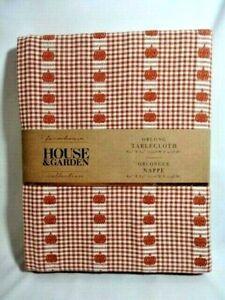 Farmhouse Pumpkin Check Oblong Fabric Tablecloth 60 x 84 Orange Beige Autumn