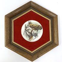 VINTAGE E.A. RIBA HORSES on PORCELAIN HEXAGON Wood Frame Velvet Matte Wall Art