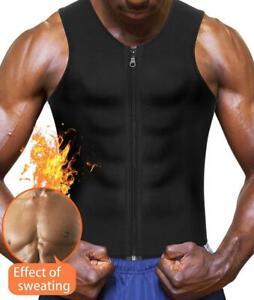 Men's Neoprene Body Shaper Zipper Waist Trainer Vest Sauna Sweat Weight Loss Hot
