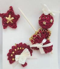 Crocheted Miniature Burgandy Christmas Ornaments - Umbrella, Ball, Star, Fan