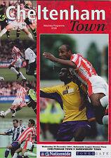 Football Programme>CHELTENHAM TOWN v SHREWSBURY TOWN Dec 2001