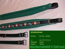 6 cm Akkordeongurte, Riemen, correas para acordeon, Accordion Straps FOLK green