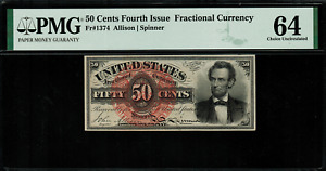 FR-1374 $0.50 Fourth Issue Fractional Currency - 50 Cent - PMG 64 Choice Unc.