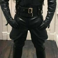 men handmade leather pants breeches jodhapur motorbike casual party jean trouser