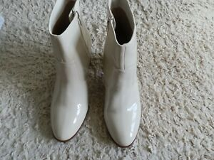 Marks And Spencer Size 8 ( 42) Standard Fit Cream Patent Ankle Boots. New