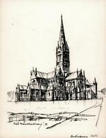 FRED MARSHALLSAY Small Pen & Ink Drawing SALISBURY CATHEDRAL 1972