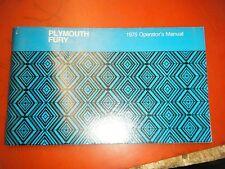 1975 Plymouth Fury Original Factory Operators Owners Manual Glove Box