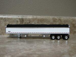 DCP 1/64 Wilson Black Tarp White Tri-axle Hopper Bottom Grain Trailer Farm Toy