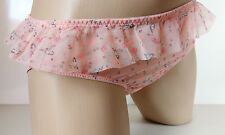 Cute Girly Peach Sheer Print Frilled Panties Frilly Bikini Knickers  UK 14 L