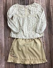 Gymboree Girls 2 Piece Outfit Top Sz 6 Skirt Sz 7 Floral Boho Blouse White Blue