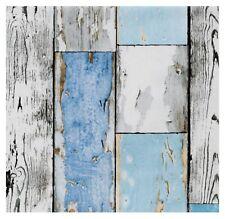 Klebefolie altes Holz Scrapwood blue selbstklebende Möbelfolie Holzdekor 45x200