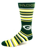 NFL For Bare Feet Green Bay Packers Green Yellow White Striped Crew Socks