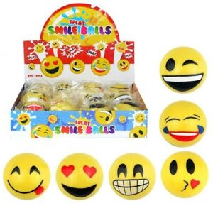 Splat Emoji Rubber Stress Reliever Ball Toy Smiley Face Kids Stocking Filler