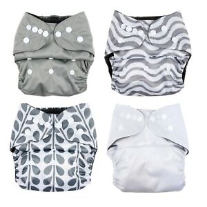 Cloth Nappy Plain Pattern Modern Reusable Eco-Friendly Bamboo Charcoal Snap On