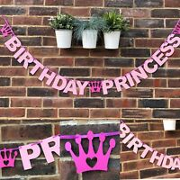 HAPPY BIRTHDAY PRINCESS BANNER Daughter Disney party decoration girl pink 1st