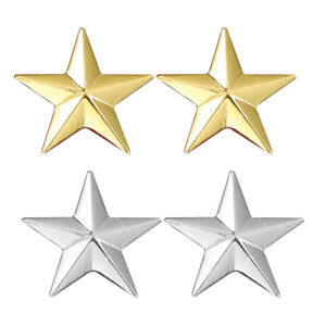 2 Pairs Star Suit Shirt Collar Pin Back Lock Brooches Badge Decor Festival