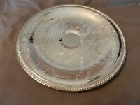 Vintage International Silver Co. Round Serving Platter Engraved, Scroll Edge (M)