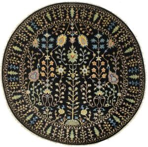 Black Osh Chobi Tree of Life Floral 8X8 Oriental Round Rug Hand-Knotted Carpet