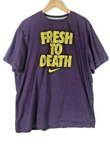 Nike Men's FRESH TO DEATH Purple Shirt Size XXL Swoosh Big Logo Tee 2XL T-shirt