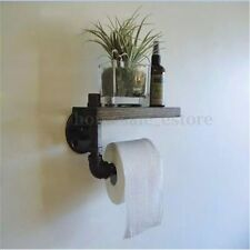 Urban Industrial Wall Mount Iron Pipe Toilet Paper Holder Roller Wood Shelf