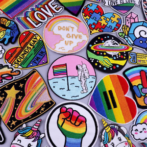 Rainbow Iron on / Sew on Embroidered Patches Love Peace LGBT Gay Pride Colourful