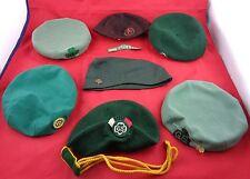 7 Vtg GIRL SCOUTS &  Brownie Hats Green KANGOL England, NY Beret Metal Hat Pins