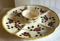 VINTAGE Divided Tray With Attached Dip Bowl- Floral DESIGN - MORIKIN - JAPAN