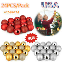 24PCS Christmas Xmas Tree Ball Bauble Home Party Ornament Hanging Decor 40/60mm