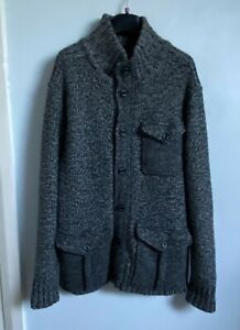 NEXT Chunky Charcoal Grey Marl Wool Blend Knitted Cardigan With Pockets Size L