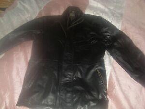 mens leather jacket / coat large