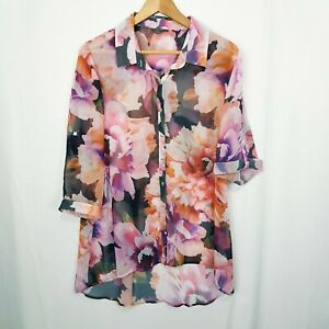 KATIES Pink/Purple Roses/Floral Sheer Collared 3/4 Sleeve Blouse/Top Size 16