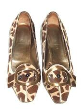 PRADA Leopard Pony Hair Brown Buckle and Gold Heel Pumps  40