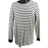U.S. POLO ASSN. White & Black Striped Long Sleeve Thermal Shirt Men's Size XL