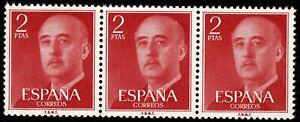 Bloque de 3 sellos de España 1955 Franco 2 pesetas Edifil 1157 rojo nuevos