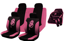 UNIVERSAL CAR SEAT COVERS Full Set Sporty All PINK Washable Airbag Compatible