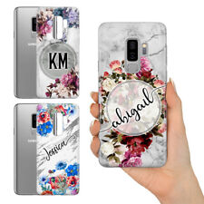 PERSONALISED MARBLE FLORAL GREY MONOGRAM NAME GEL PHONE CASE FOR SAMSUNG GALAXY